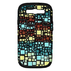 Block On Block, Aqua Samsung Galaxy S III Hardshell Case (PC+Silicone)