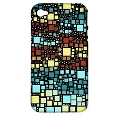 Block On Block, Aqua Apple Iphone 4/4s Hardshell Case (pc+silicone)