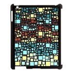 Block On Block, Aqua Apple iPad 3/4 Case (Black) Front