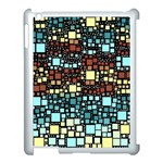 Block On Block, Aqua Apple iPad 3/4 Case (White) Front
