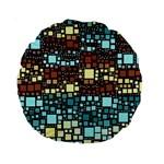 Block On Block, Aqua Standard 15  Premium Round Cushions Front