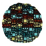 Block On Block, Aqua Large 18  Premium Round Cushions Back