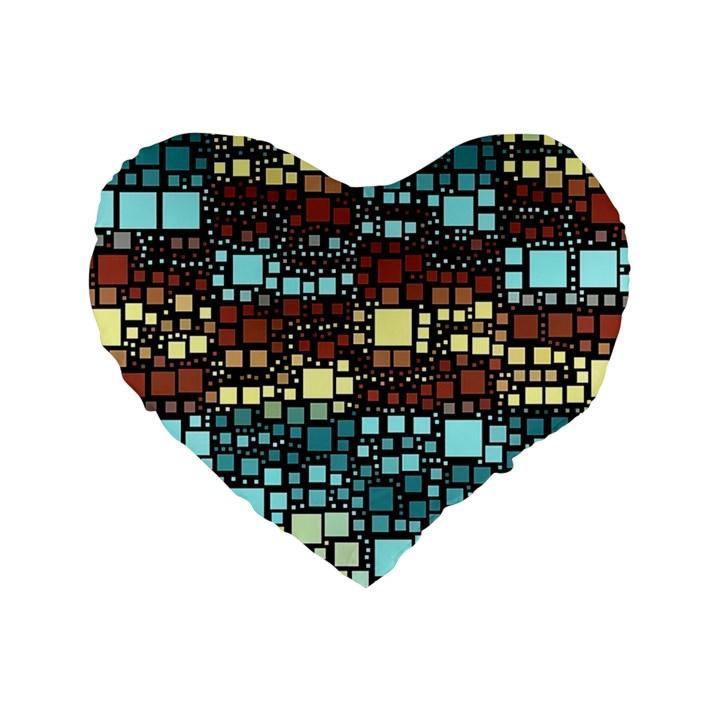 Block On Block, Aqua Standard 16  Premium Heart Shape Cushions