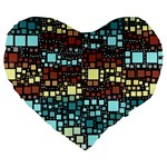 Block On Block, Aqua Large 19  Premium Heart Shape Cushions Front