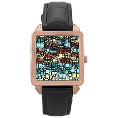 Block On Block, Aqua Rose Gold Leather Watch