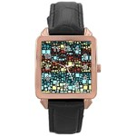 Block On Block, Aqua Rose Gold Leather Watch  Front