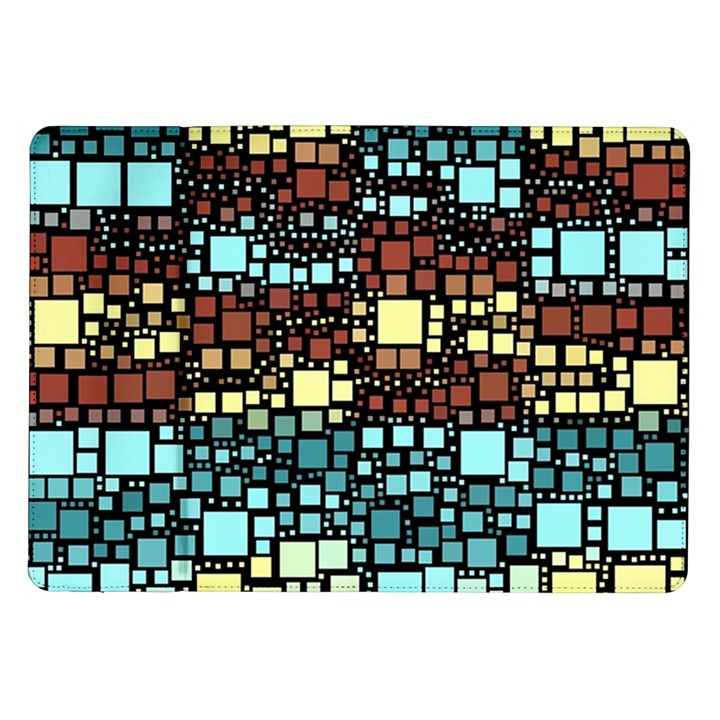 Block On Block, Aqua Samsung Galaxy Tab 10.1  P7500 Flip Case