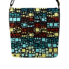 Block On Block, Aqua Flap Messenger Bag (L)