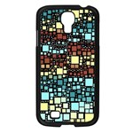 Block On Block, Aqua Samsung Galaxy S4 I9500/ I9505 Case (Black) Front