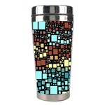 Block On Block, Aqua Stainless Steel Travel Tumblers Left