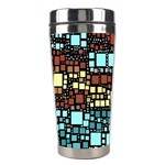 Block On Block, Aqua Stainless Steel Travel Tumblers Right