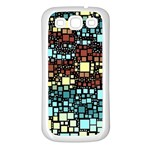 Block On Block, Aqua Samsung Galaxy S3 Back Case (White) Front