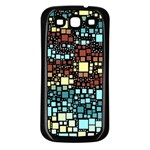Block On Block, Aqua Samsung Galaxy S3 Back Case (Black) Front