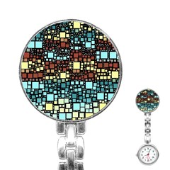 Block On Block, Aqua Stainless Steel Nurses Watch