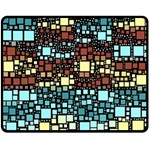 Block On Block, Aqua Double Sided Fleece Blanket (Medium)  60 x50 Blanket Back