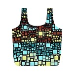Block On Block, Aqua Full Print Recycle Bags (M)  Front