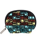 Block On Block, Aqua Accessory Pouches (Small)  Front