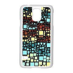 Block On Block, Aqua Samsung Galaxy S5 Case (White)