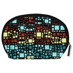 Block On Block, Aqua Accessory Pouches (Large)  Back