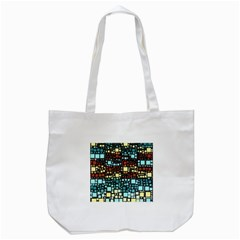 Block On Block, Aqua Tote Bag (White)
