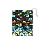 Block On Block, Aqua Drawstring Pouches (Small)  Front