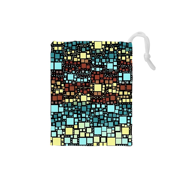 Block On Block, Aqua Drawstring Pouches (Small)