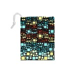 Block On Block, Aqua Drawstring Pouches (Small)  Back