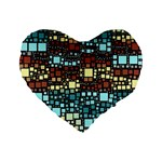 Block On Block, Aqua Standard 16  Premium Flano Heart Shape Cushions Front