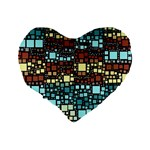 Block On Block, Aqua Standard 16  Premium Flano Heart Shape Cushions Back