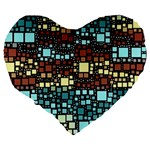 Block On Block, Aqua Large 19  Premium Flano Heart Shape Cushions Back