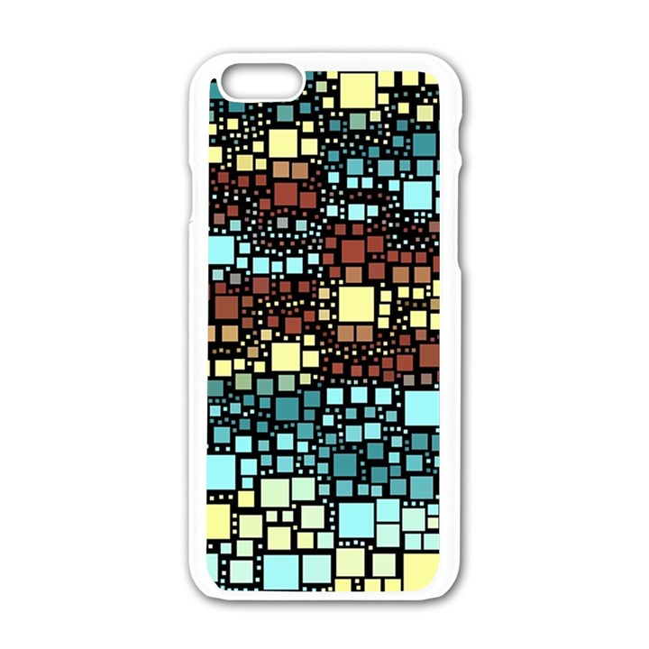 Block On Block, Aqua Apple iPhone 6/6S White Enamel Case