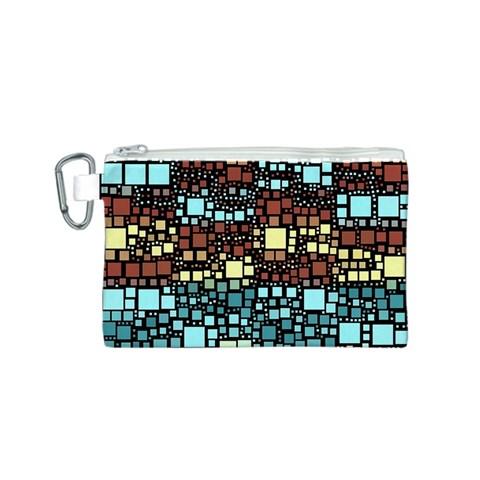 Block On Block, Aqua Canvas Cosmetic Bag (S)