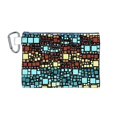 Block On Block, Aqua Canvas Cosmetic Bag (M)
