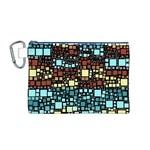 Block On Block, Aqua Canvas Cosmetic Bag (M) Front