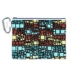 Block On Block, Aqua Canvas Cosmetic Bag (L) Front