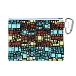 Block On Block, Aqua Canvas Cosmetic Bag (L) Back