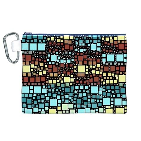 Block On Block, Aqua Canvas Cosmetic Bag (XL)