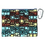 Block On Block, Aqua Canvas Cosmetic Bag (XXL) Back