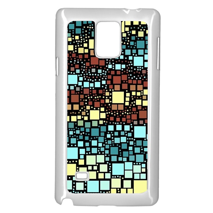 Block On Block, Aqua Samsung Galaxy Note 4 Case (White)