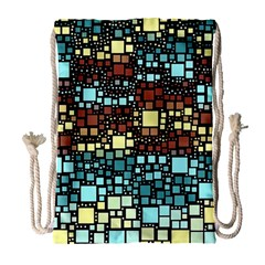 Block On Block, Aqua Drawstring Bag (Large)