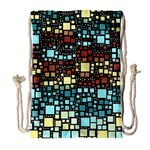 Block On Block, Aqua Drawstring Bag (Large) Front