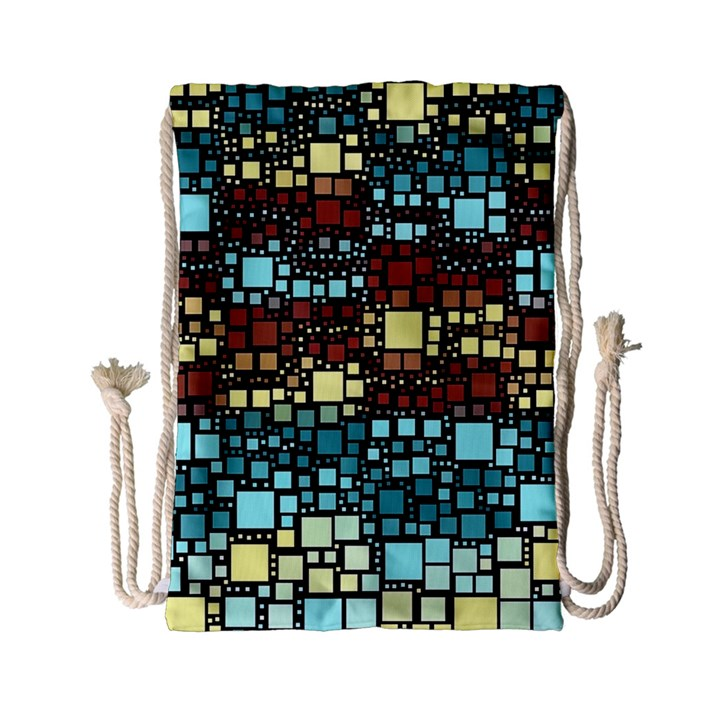 Block On Block, Aqua Drawstring Bag (Small)