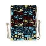 Block On Block, Aqua Drawstring Bag (Small) Back