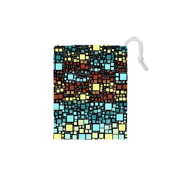 Block On Block, Aqua Drawstring Pouches (XS)