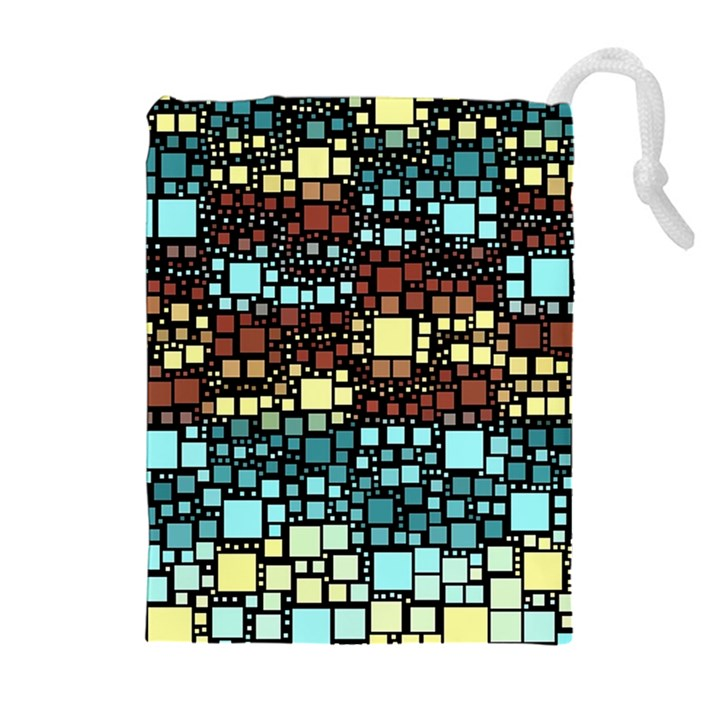 Block On Block, Aqua Drawstring Pouches (Extra Large)