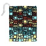 Block On Block, Aqua Drawstring Pouches (Extra Large) Back