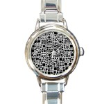 Block On Block, B&w Round Italian Charm Watch Front