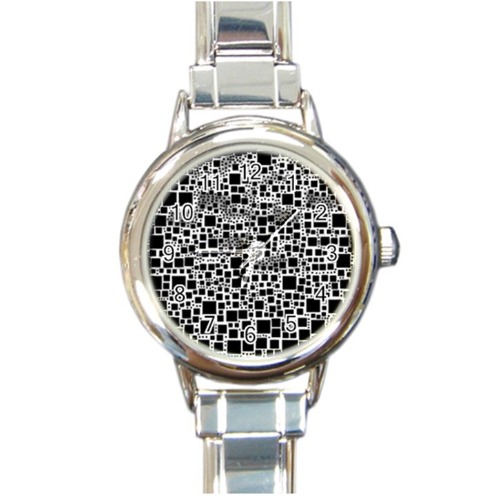 Block On Block, B&w Round Italian Charm Watch