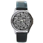 Block On Block, B&w Round Metal Watch Front