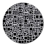 Block On Block, B&w Round Mousepads Front